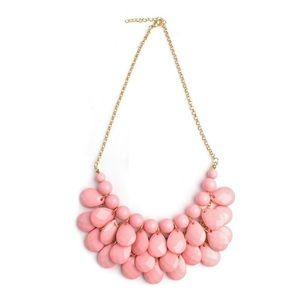 New Pink Beaded Large Statement Bib Necklace